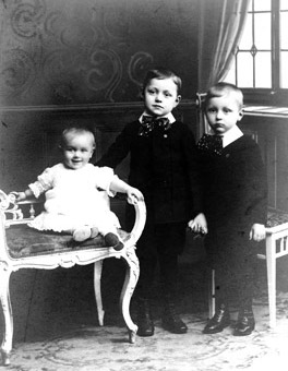 Jean Laurent at the age of three with his brother Victor (centre) and a cousin at their parents' home in Antwerp.