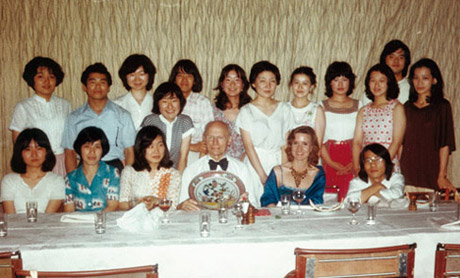 "Farewell party from his violin class at the National University for Fine Arts and Music, ""GeiDai"", Tokyo, July 1978"