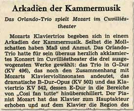 Süddeutsche Zeitung, 18.3.1969, Arcadia of Chamber Music. The Orlando Trio plays Mozart in the Cuvilliés theatre.